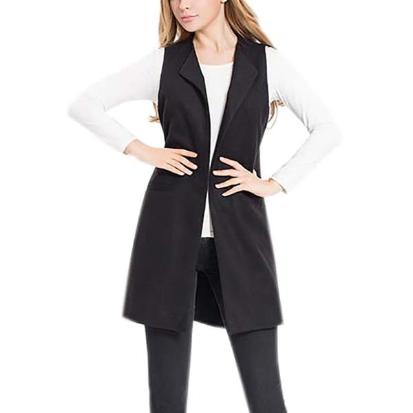 Women's Wool Blend Woolen Waistcoat Vest Casual Long Sleeveless Vest Jacket Mid Length Coat Loose Sleeveless Top