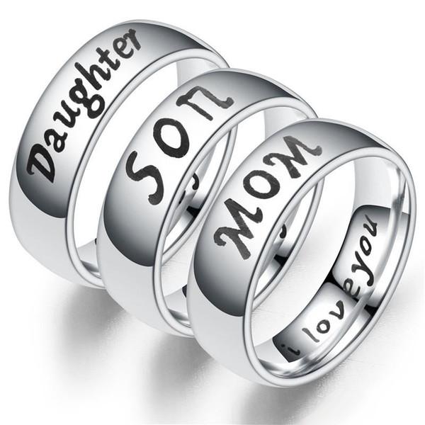 AMOR MAMÁ HIJO HIJA PADRE Diseñador de acero inoxidable Joyería Anillos de los hombres Anillos de compromiso Anillos de compromiso Alianzas de boda