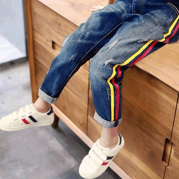 2019 Boys Jeans Children's Casual Trousers Big Boy Spring And Autumn Thin Section Stretch Pants Tide