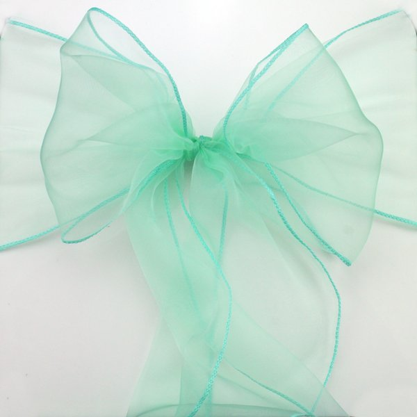 Home Textile Sashes Fatory price 100pcs High Quality Mint green Organza chair sashes Bow Cover Wedding Banquet Venue Decoration