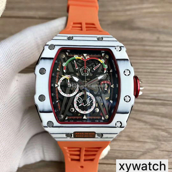Top Sports Luxury Wristwatches 50-03 Watch Swiss Quartz Chronograph Movement Skeleton Dial White Carbon Fiber Case Sapphire Crystal