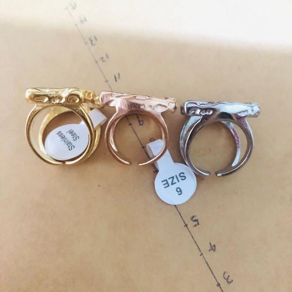 Gioielli in acciaio inossidabile Spagna porta rosa argento-oro stile grandi donne d'oro grezzi a larga banda del foro porta anelli Anello oso