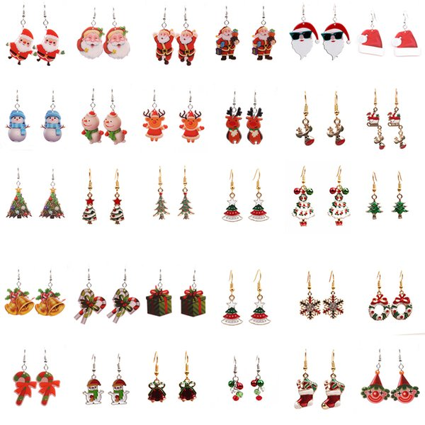New Christmas Series Snowman Bell Tree Old Socks Gift Box Deer Cane Charm Earrings Fit for Women Jewelry Gifts Wholesale