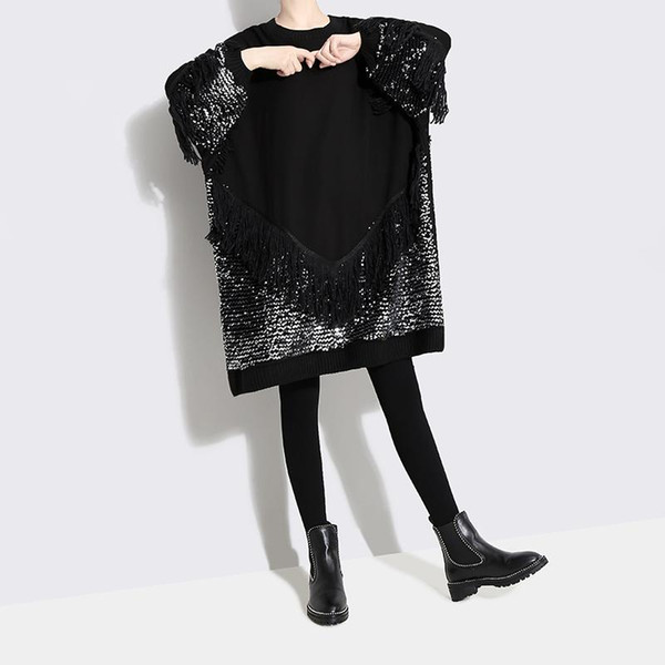 2019 Korean Style Women Black Sequined Dress With Tassel Long Sleeve Plus  Size Female Stylish Evening Party Club Wear Dress F527 Evening Gown Floral  ...