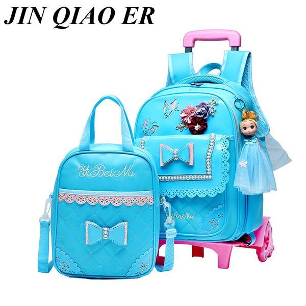 2PCS/SET Children School Bags Removable Boys Girls Cartoon Trolley Backpack 2/6 Wheels Child Climb Stair Kids Rolling Backpacks