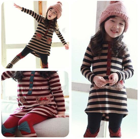 Europe and America girls striped suit children spring long sleeved t shirt leggings pant girl striped dress set Bow legging free shipping