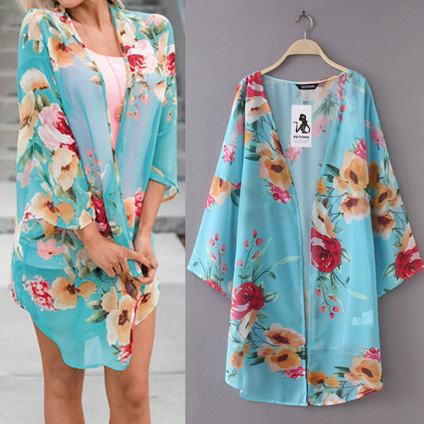 3d3a30918d2ce S-3XL Pluse Size Fashion Womens Chiffon Shawl Print Kimono Cardigan Top Cover  Up Blouse