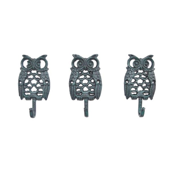 3 pcs Hollow out Owl Wall Hook Iron Wall-mounted Hanger Decorative Clothes Hooks Towel Organizer for Living Room Outdoor Bedroom