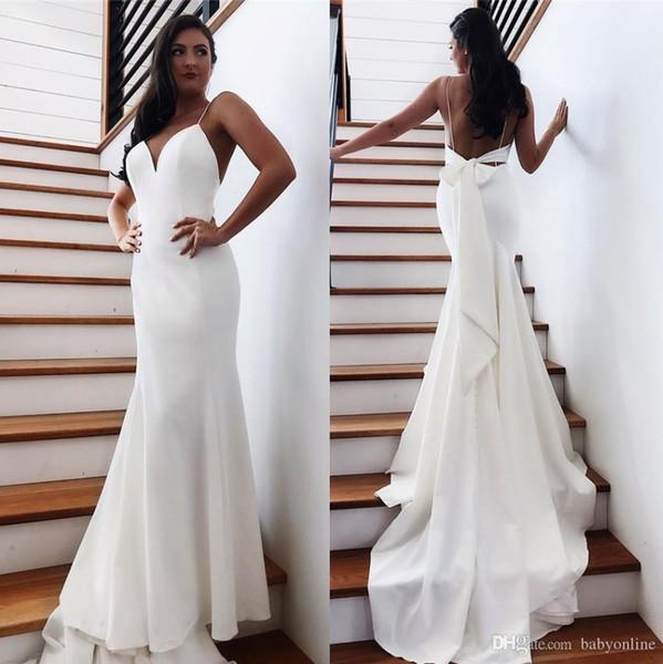 2020 treno lungo poco costoso Beach Backless Wedding Dresses sexy aperto indietro con l'arco Mermaid Abiti da sposa Robe de soriee BM1552