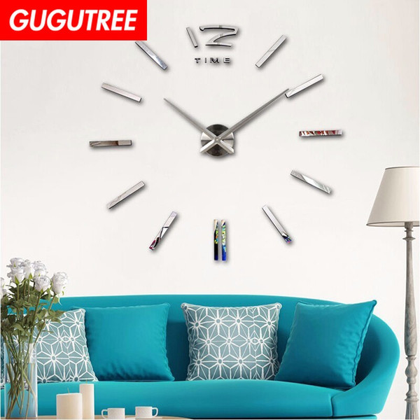 Decorate Home 3D number mirror clock art wall sticker decoration Decals mural painting Removable Decor Wallpaper G-23