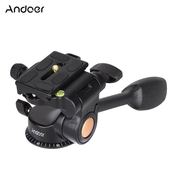 height Andoer Q08 Video Ball Head 3-way Fluid Head Rocker Arm with Quick Release Plate for DSLR Camera Tripod Monopod