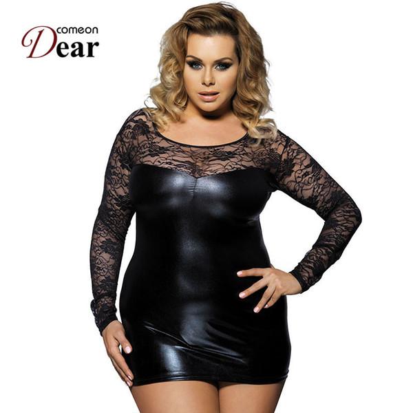 Comeondear 2018 nouvellement Hot Black Lace Plus Size Faux Leather Sex Lingerie Dress Costumes Sexy Lingerie érotique Babydolls Rj7393 Y19070302