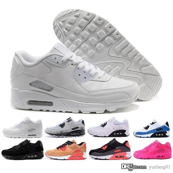 Compre 2019 Nike Air Max 90 Airmax New Men Womens Shoes Classic 90 Men And Women Casual Shoes Sports Trainer Air Cushion Surface Transpirable Sports