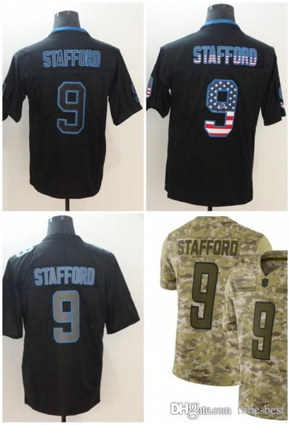 new styles 8f209 89237 2019 Detroit 9 Matthew Stafford Jerseys Lions 2018 Salute To Service USA  Flag Fashion Impact Lights Out Black Color Rush Drift Camo Olive Limited  From ...