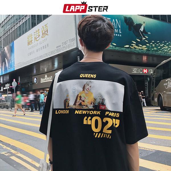 LAPPSTER Мужчины смешно печать Tshirts Streetwear лето 2019 Мужские Harajuku Повседневная футболка Мужской высокого качества корейского скейтборд Tshirt