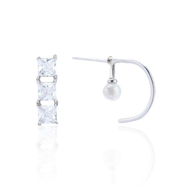 S925 prata esterlina hipoalergênicos irregular brincos de pérola moda senhoras simples de luxo brincos de design 6-7236