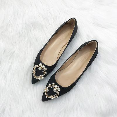 Sale Square buckle rhinestone single shoes female flat bottom low heel pointed autumn new shallow mouth bridal wedding shoes