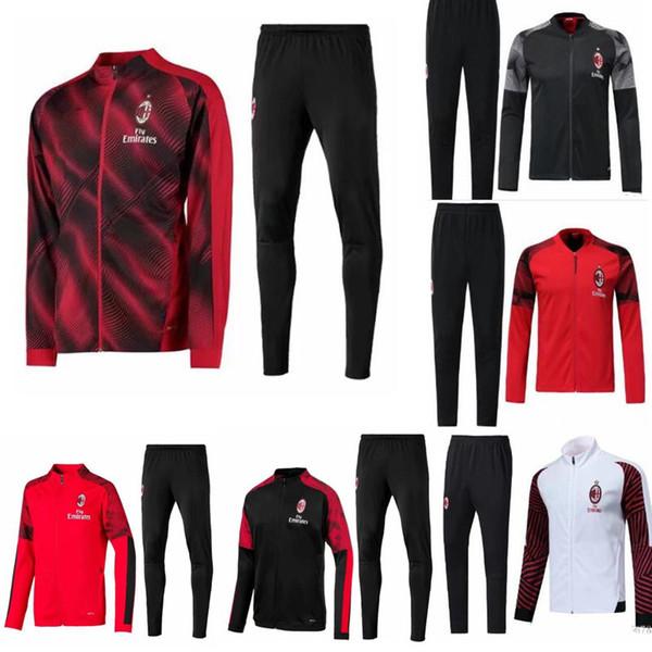 2018-2019 -2020 AC Milan treino survetement jacket set 18-19-20 CALHANOGLU Completo zíper jaqueta de futebol sportswear treino