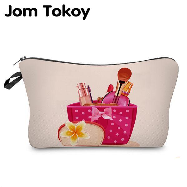 Jom Tokoy 2019 cosmetic organizer bag make up box wiz Heat Transfer Printing Cosmetic Bag Fashion Women Brand makeup