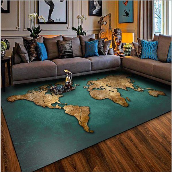 Grosshandel Aovoll Teppich Und Teppiche Fur Zuhause Wohnzimmer Amerikanischen Retro Grun Gold Alte Fussmatte Schlafzimmer Wohnzimmer Teppich Matte Von