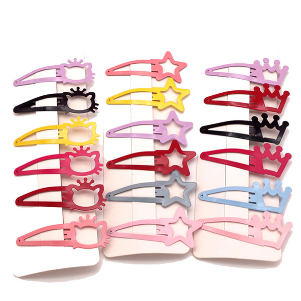 2pcs/set New Kids Cartoon Cat Hairpins Girls Solid Color Crown Star Hair Clips Children Paint Bb Clips Hair Accessories Female