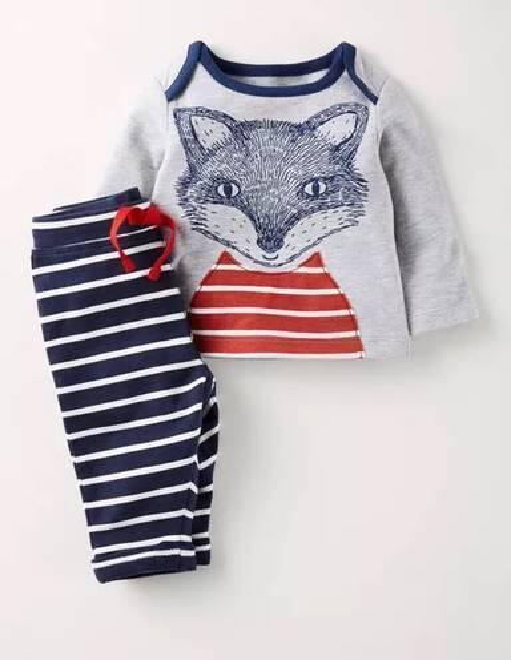 Children Cotton Clothing sets Cartoon Fox and dog Print t shirts+Striped Pants 2PCS suits Boys Girls Brand Clothes 2019