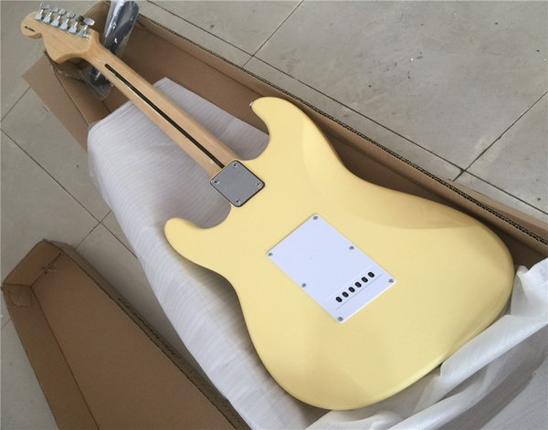 Free Shipping Factory custom yellow ST electric guitar and SSS pickup, White Pickguard, maple finger board, free delivery, customizable