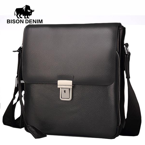 BISON DENIM Men Bag Genuine Leather Crossbody Bag Men cover Black Business top-handle bags high quality N2531