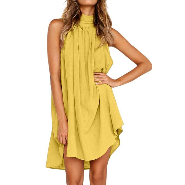 Womens sans manches robe de vacances longueur au genou solide irrégulière tenue décontractée dames été lâche simple Elbise # 5T