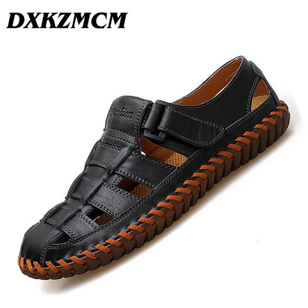 DXKZ Hommes En Cuir Véritable Sandales Mâle D'été Respirant Hommes Chaussures De Plage Sneakers Sandles