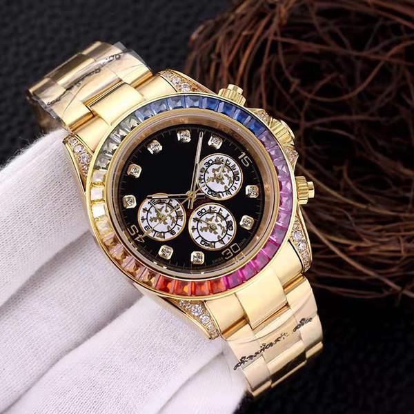 top popular fashion luxury mens watches 40mm dayttona series jewel men watches three dial plateimported mechanical movement Waterproof watch 2021