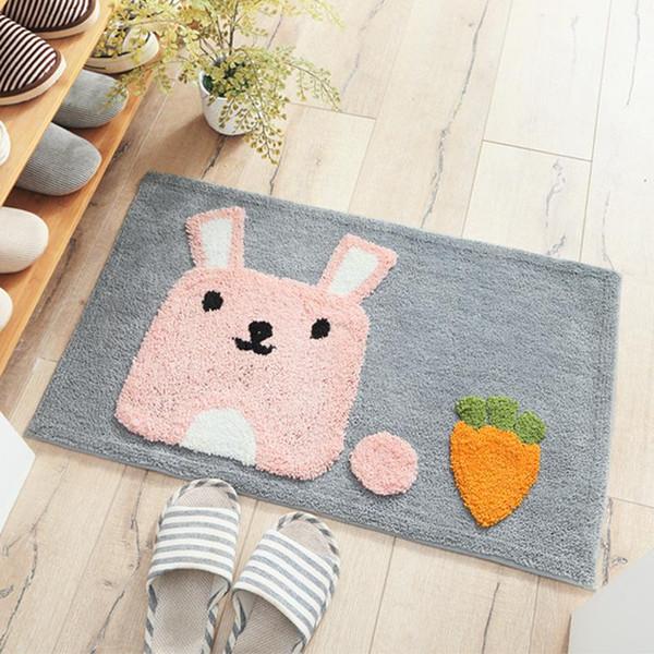 Carpets area rugs Cross-border cartoon thickening flocking door mats Home bedroom bathroom door water-absorbing anti-skid door mats