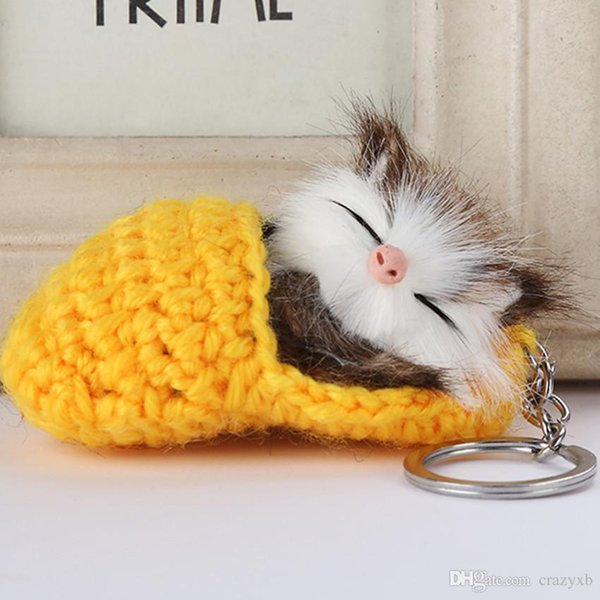 Cute Sleeping Cat Pompom Keychains For Women Girls Handmade Woven Shoes Faux Rabbit Fur Kitten Key Chains Fluffy Car Key Rings