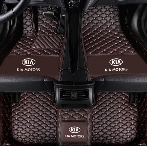 Aplicável a Kia Carnival 2015-2017 tapete de carro de luxo cercado por tapete de costura interior tapete de couro verde à prova d 'água