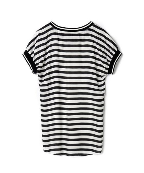 Brand genuine discount women's summer retro wind print ribbon stitching back stripe stitching shirt 12
