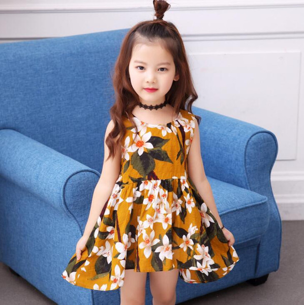 New Girls Longuette cotton Broken flowers Dress Dresses Girl Prom Dresses Summer Princess Dress best quality 4-21 lw44