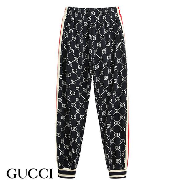 Moda nueva alta calidad carta bordado costura pantalones casuales pantalones deportivos costura sección delgada cinta personalidad personalidad casual pants2019