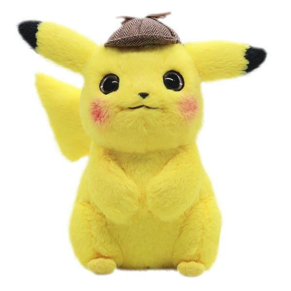 28 cm detetive pikachu brinquedo de pelúcia de alta qualidade bonito anime brinquedos de pelúcia brinquedo de presente das crianças dos desenhos animados peluche pikachu plush doll y190530
