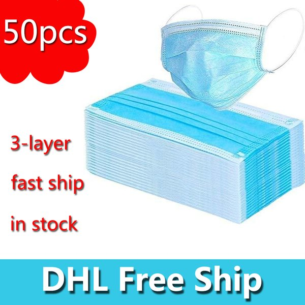 top popular DHL Free Shipping 3-Layer Non-woven Disposable Mask Face Masks Protection and Personal Health Mask Face Sanitary Mask In Stock 2021