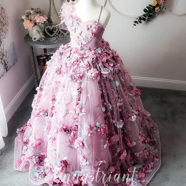 Роскошные Feather Lace 2019 Цветочные платья Gilr Hand Made Цветы из бисера Маленькая девочка С