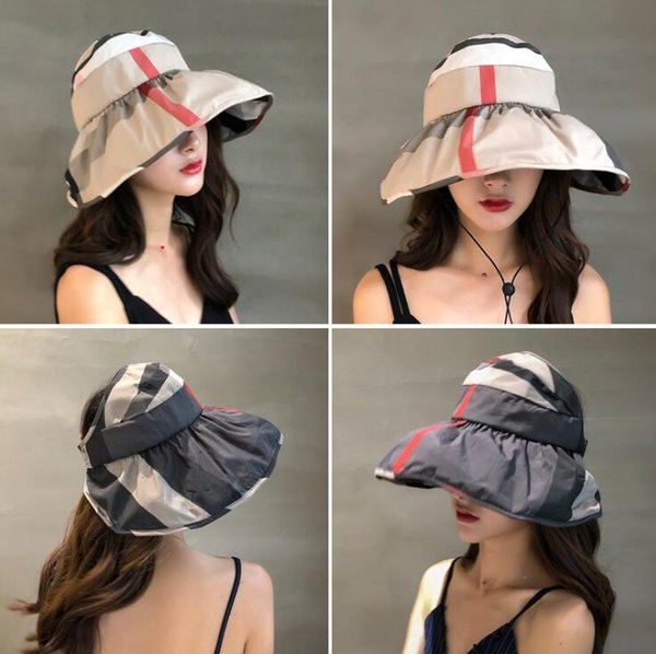 Striped Visors Hat 5 Colors Women Summer Outdoor Beach Foldable Travel Hats Outing Sunscreen Hat Portable Caps OOA6793
