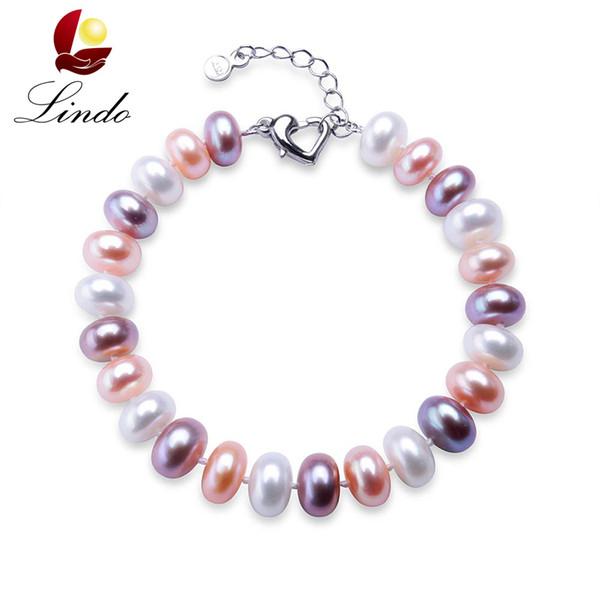 Braccialetto di perle d'acqua dolce naturale naturale delle donne eleganti Bracciale in argento sterling 925 8-9mm Perle bianche Braccialetti con perline femminili J190629