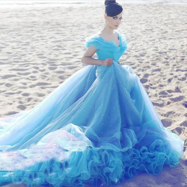 2019 Prenses Külkedisi Açık Mavi Artı Boyutu Balo Gelinlik gelinlikler elbiseler de soirée vestidos de noiva Kapalı Omuz