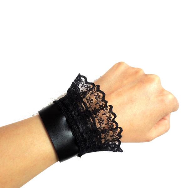 2019 selvaggio PU cinturino in pelle BLACK LACE ORGANZA nuovo polsino regalo TRIBAL fresco fatto a mano NW262C