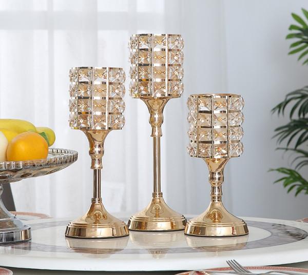 Tabla de vela de oro de cristal europeo hogar mesa romántica boda postre decoración de la mesa
