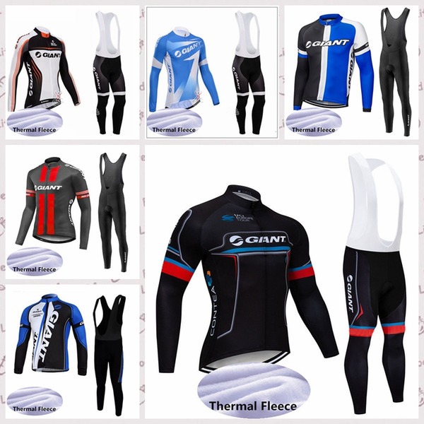 GIANT Cycling Winter Thermal Fleece jersey bib pants sets Men's winter windproof breathable comfortable sports Jersey suit S52934