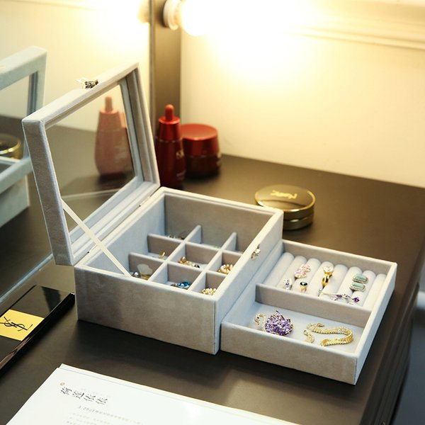 Jewelry Display Velvet Gray Carrying Case with Glass Cover Jewelry Ring Display Box Tray Holder Storage Box Organizer