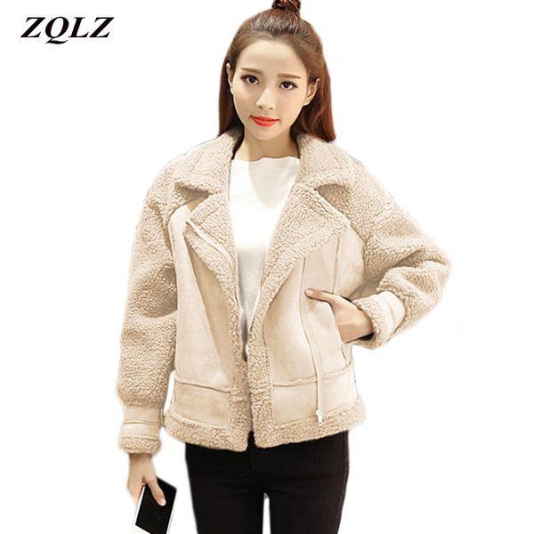 Autumn Winter Suede Cotton Padded Jacket Women Turn-down Collar Zipper Long Sleeve Female Coat Motorcycle Leather Jacket Women