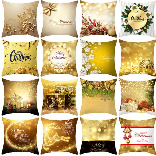 45 * 45cm Décoration de Noël pour Coussin Accueil Couverture Arbre d'or Décorations De Noël Décoration de Noël Navidad 2019 Père Noël 2020
