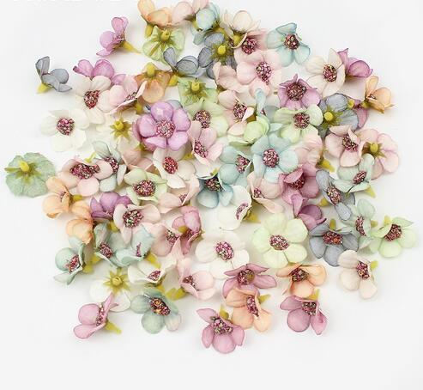 2 cm Multicolor Daisy Flor Heads Mini Silk Artificial Flores para Coroa de Flores Scrapbooking Casa Decoração Do Casamento GB737